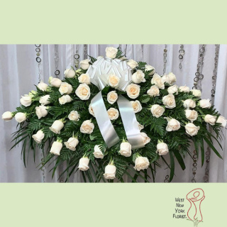 Simply White Rose Casket